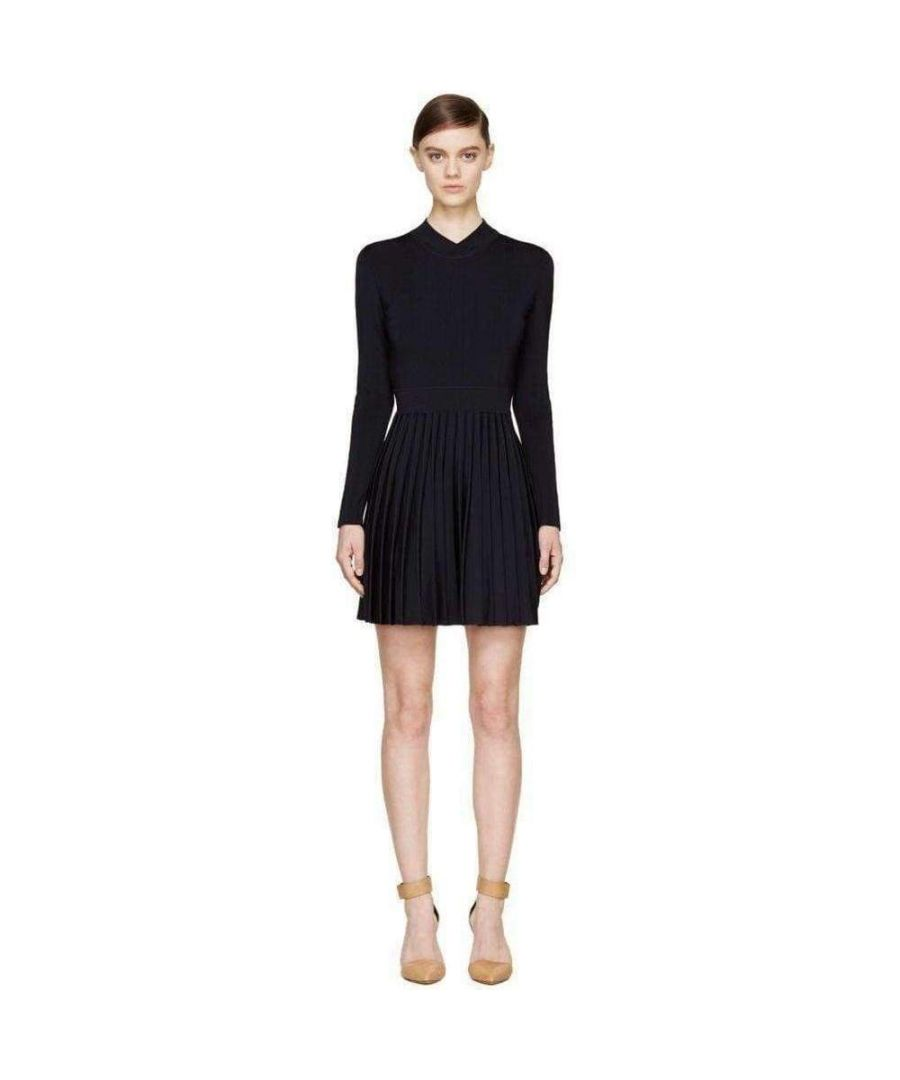 Image for Balmain Black Ribbed Stretch Knit Mini Dress