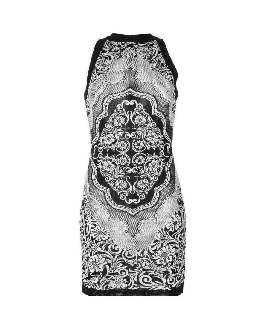 Image for Balmain Black White Jacquard Lace Print Mini Dress