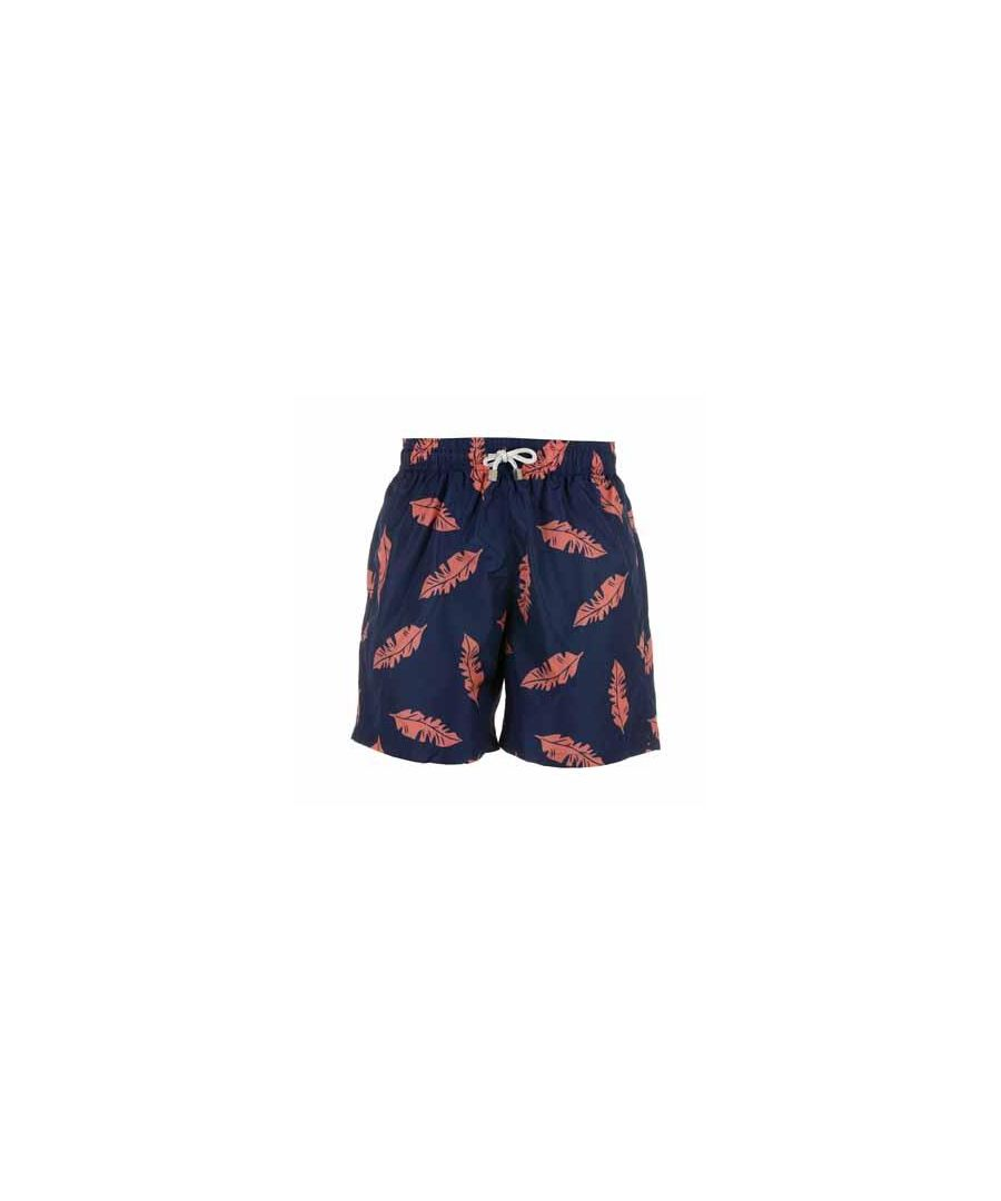 Image for Boy's Blue & Red Leaf Swim Shorts