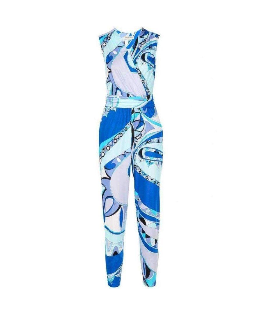 Image for Emilio Pucci Blue Vivid Print Cross Front Jumpsuit