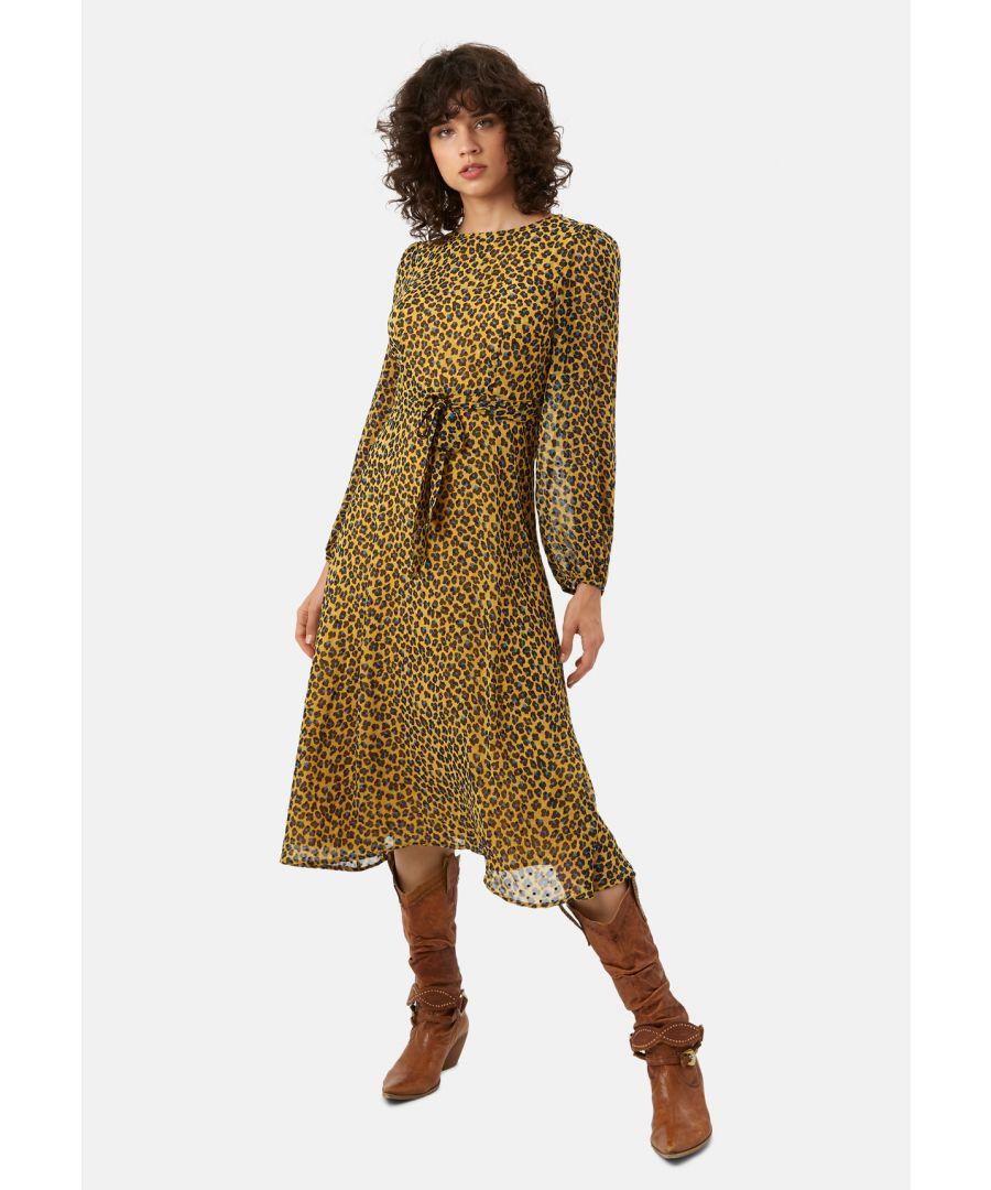 Image for Mood Midi Long Sleeve Animal Dress in Mustard