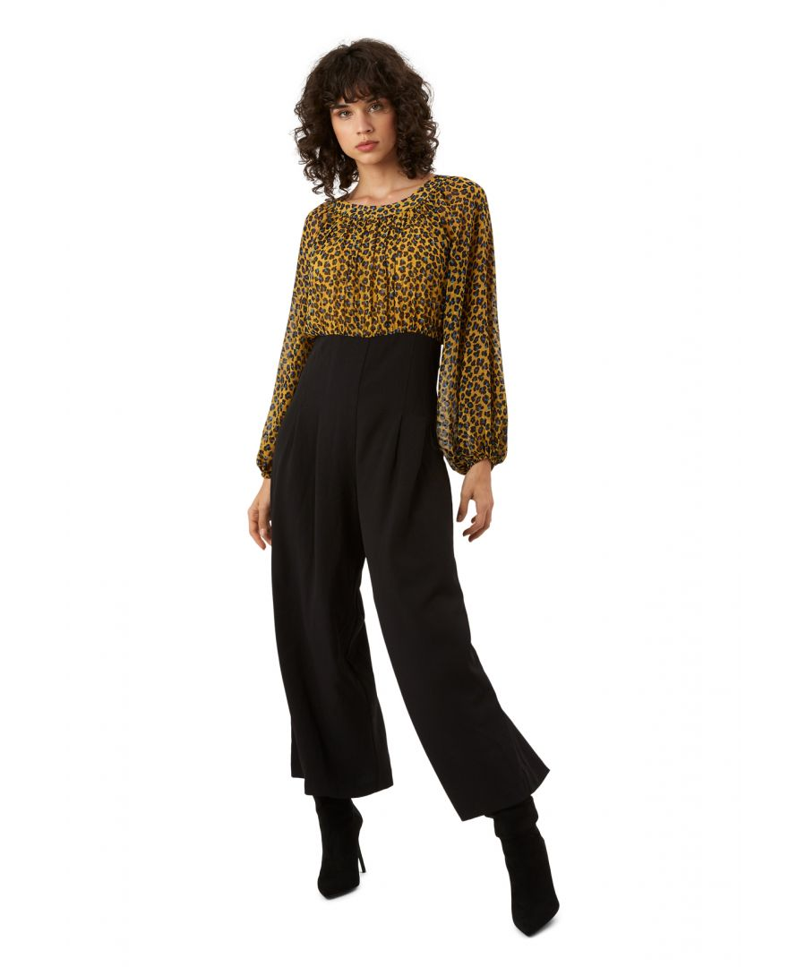 Image for Haughty Animal Print Long Sleeve Jumpsuit in Mustard