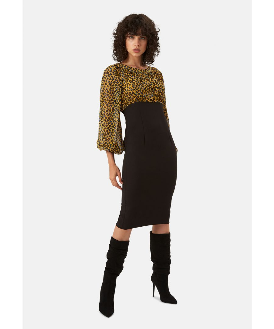 Image for Wiggle and Wave Animal Print Pencil Midi Dress in Mustard