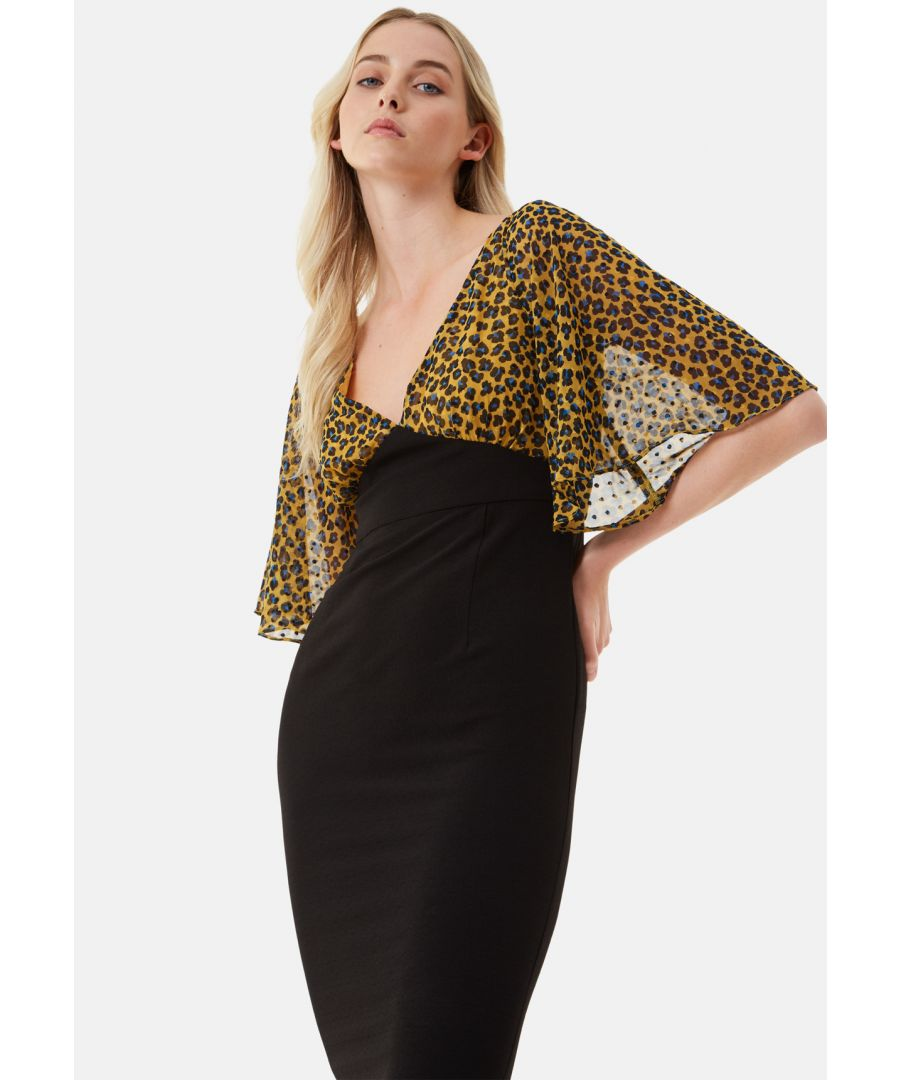 Image for Wiggle and Smile Animal Print Midi Dress in Mustard