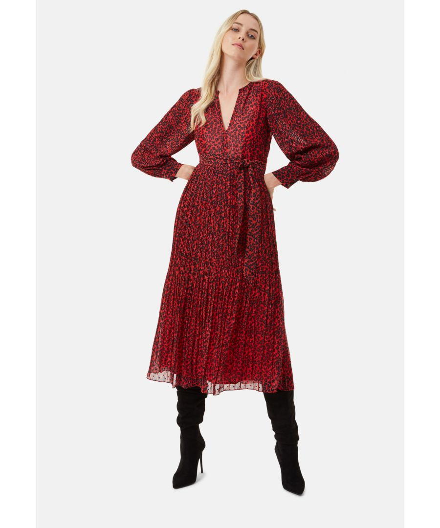 Image for Fallen Animal Print Pleated Dress in Red