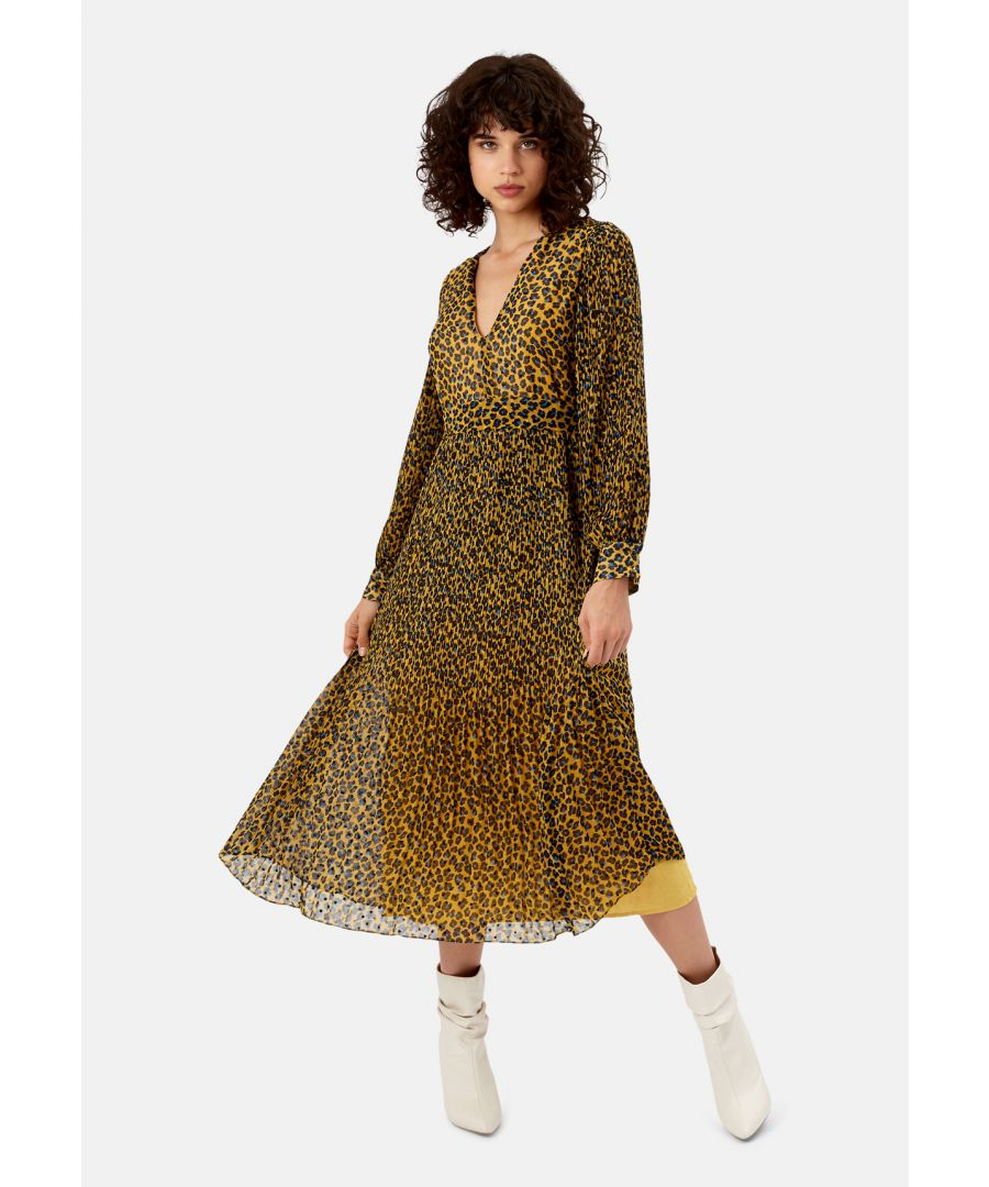 Image for Fallen Animal Print Maxi Dress in Mustard