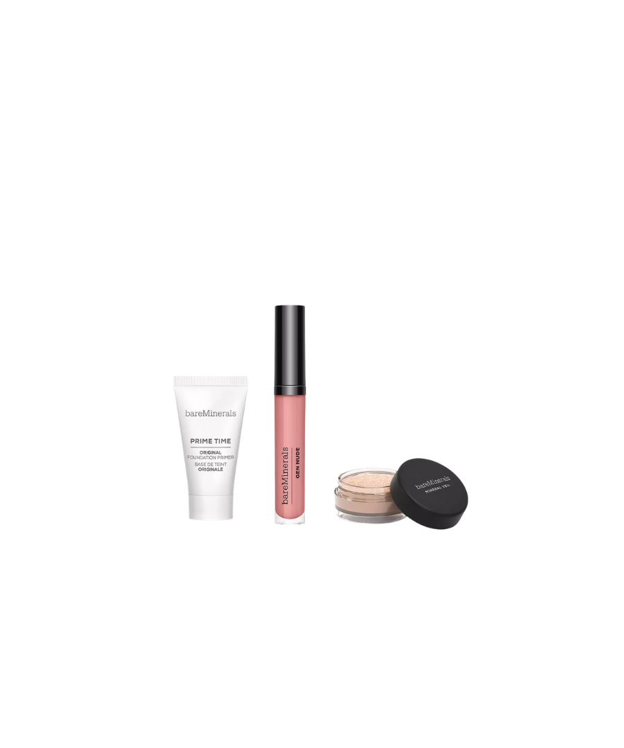 Image for bareMinerals Primer, Finishing Powder & Lip Lacquer Trio