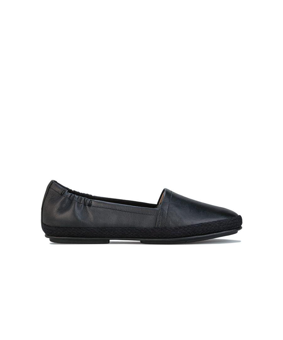Image for Women's Fit Flop Siren Leather Espadrilles Black UK 3in Black