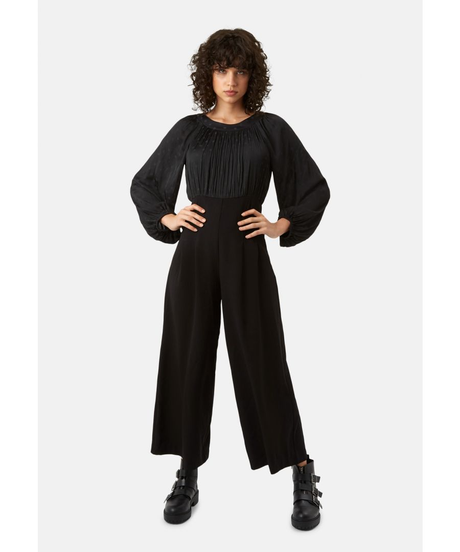 Image for Haughty Polka Dot Long Sleeved Jumpsuit in Black