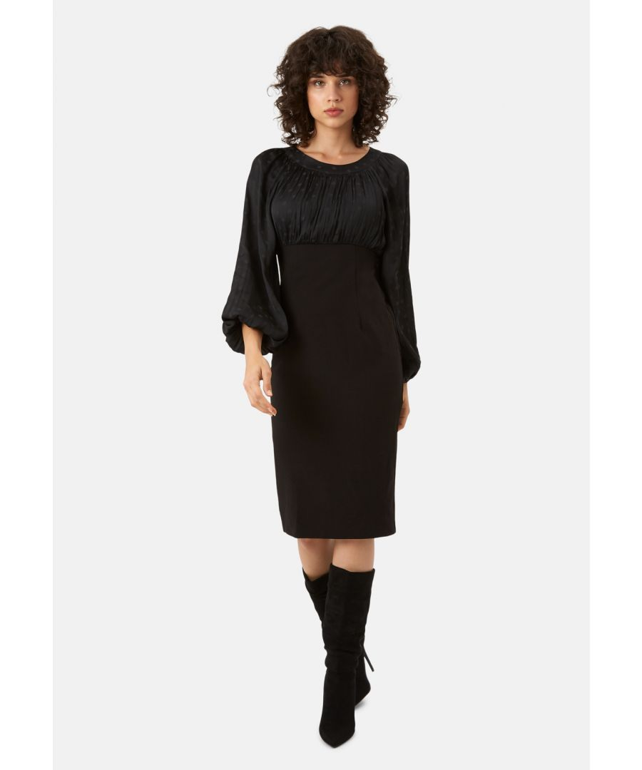 Image for Wiggle and Wave Polka Dot Long Sleeve Midi Dress in Black