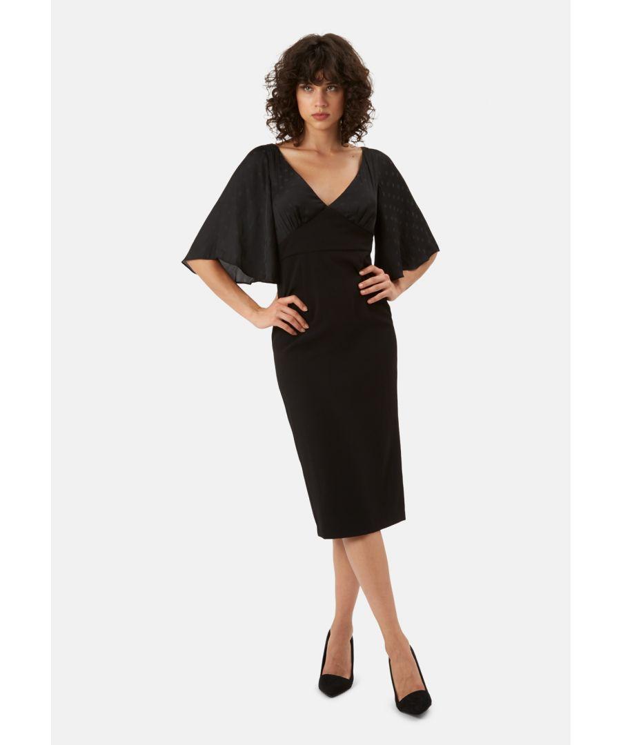 Image for Wiggle and Smile Polka Dot Midi Pencil Dress in Black