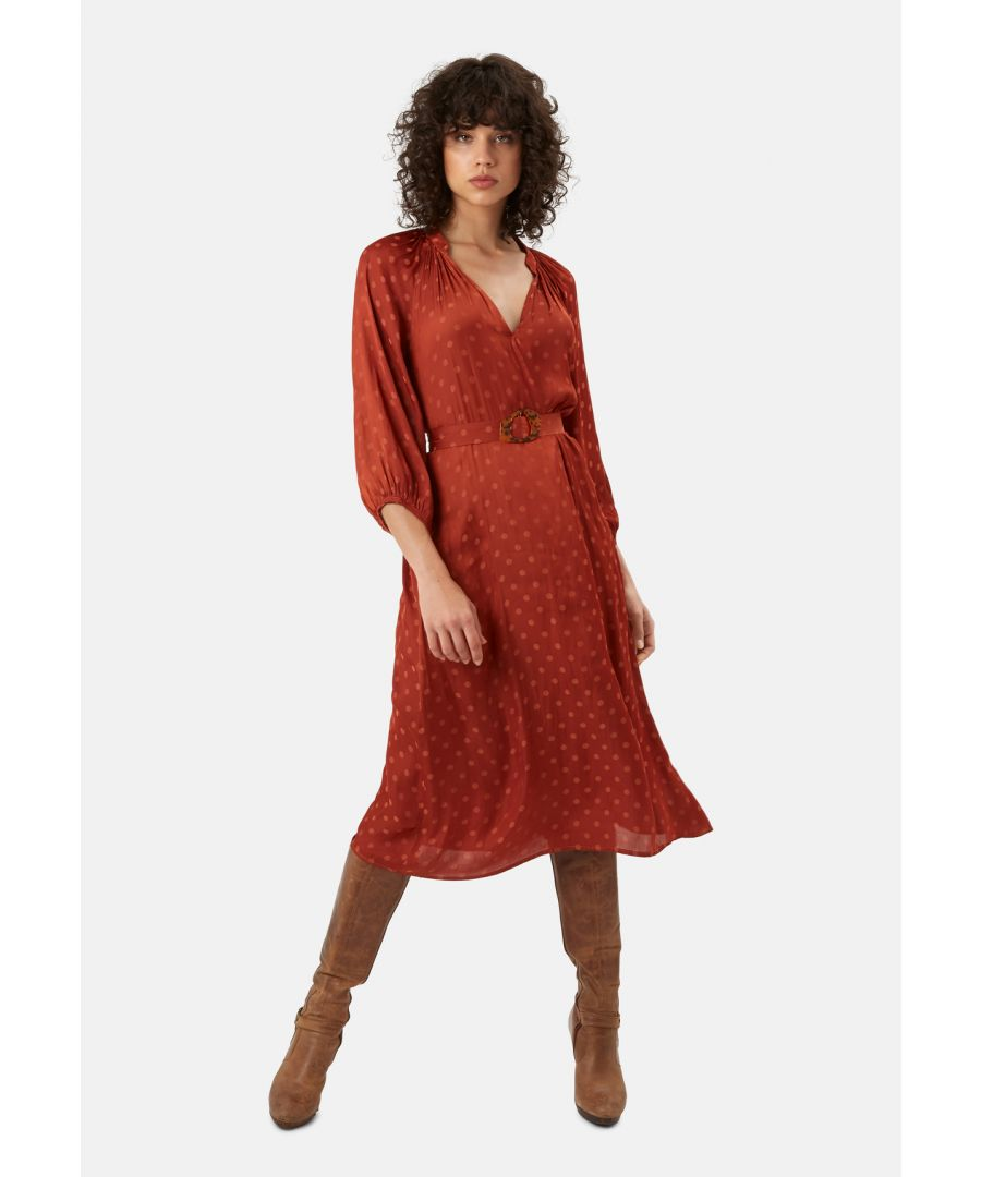 Image for Belt Up Polka Dot Midi Dress in Rust