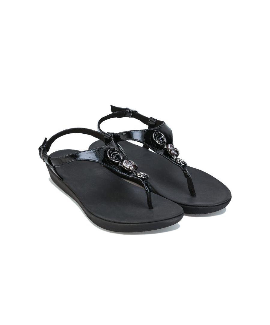 Image for Women's Fit Flop Lainey Embellished Sandals Black UK 3in Black