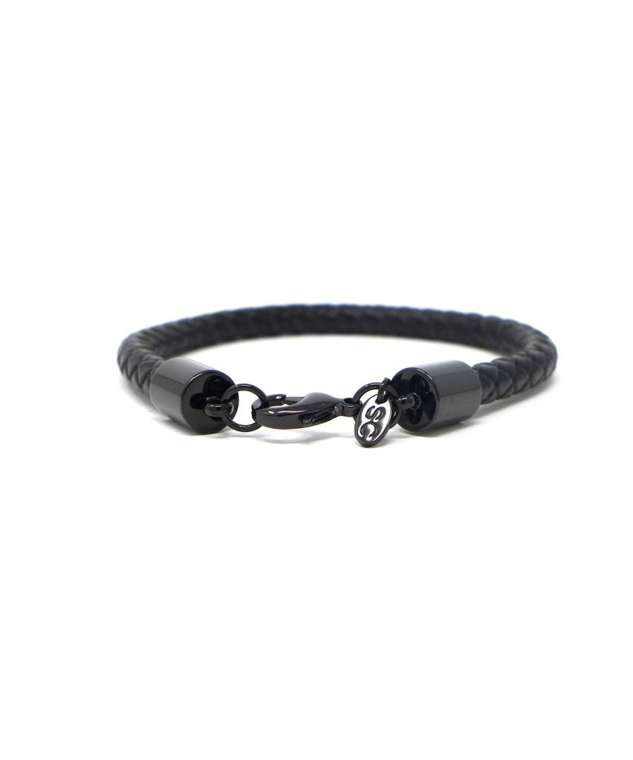 Image for Braided Black Leather Bracelet