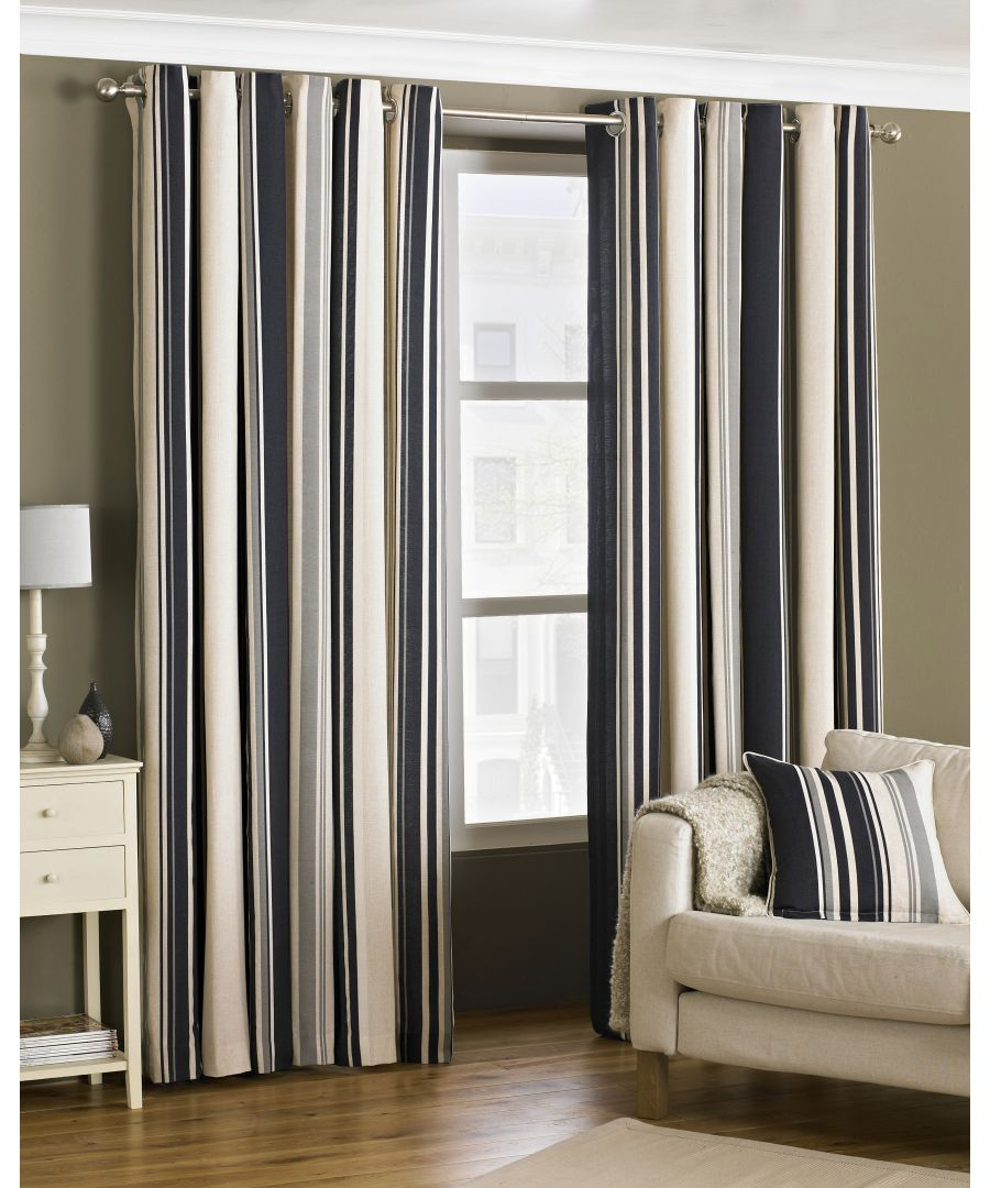 Image for Broadway Striped Eyelet Curtains in Black