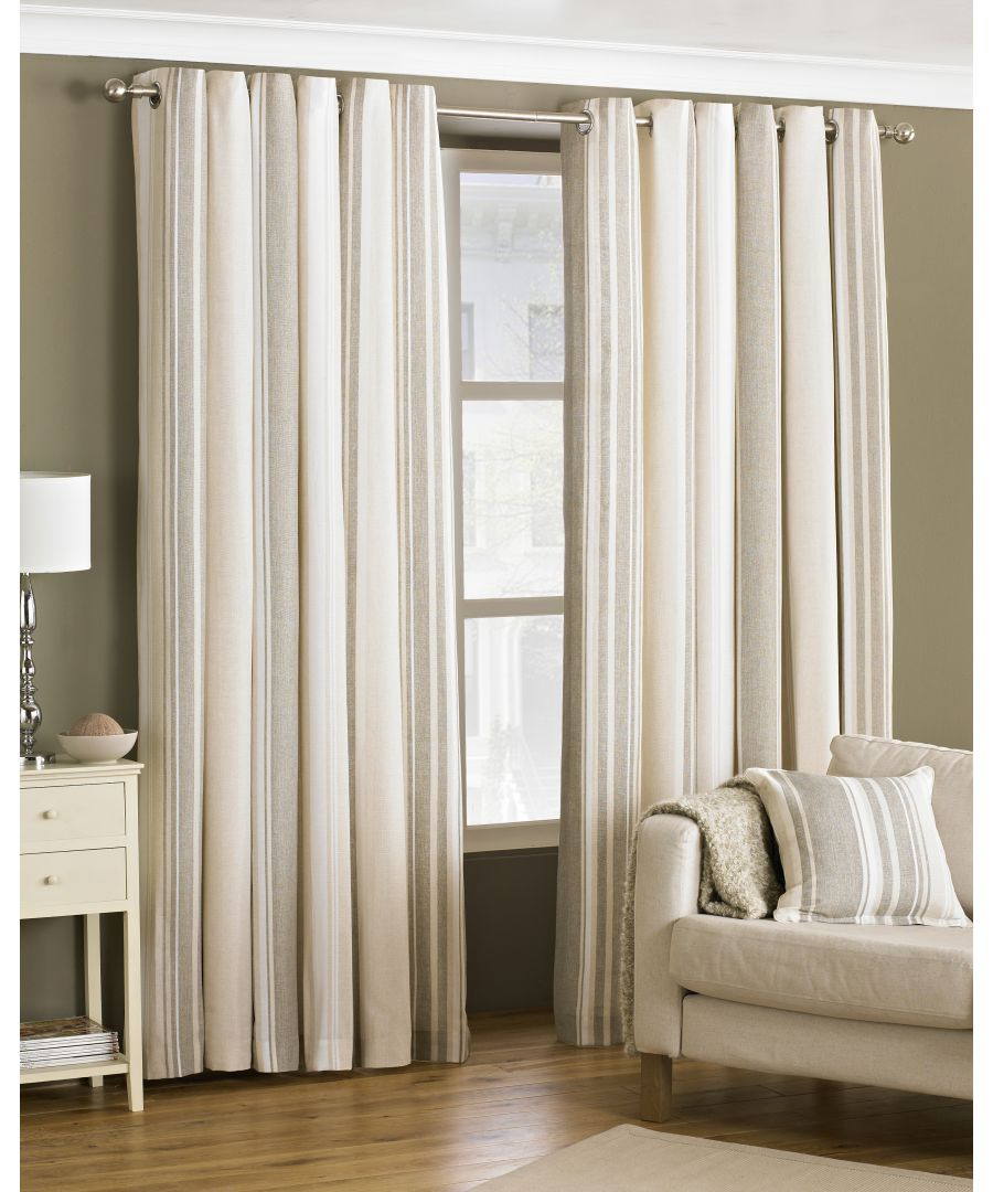 Image for Broadway Striped Eyelet Curtains in Coffee