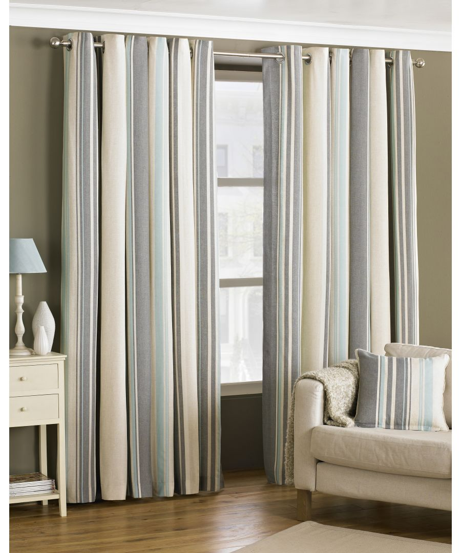 Image for Broadway Striped Eyelet Curtains in Duck Egg Blue