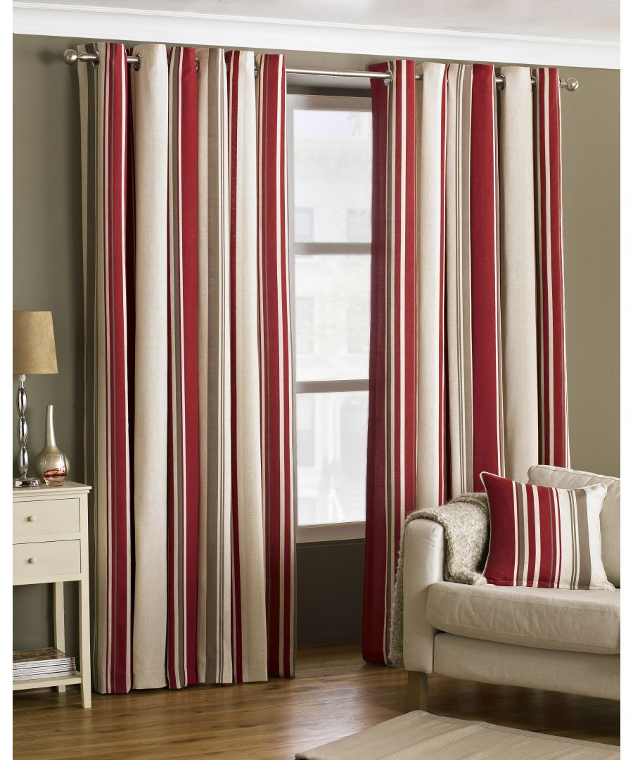 Image for Broadway Striped Eyelet Curtains in Raspberry