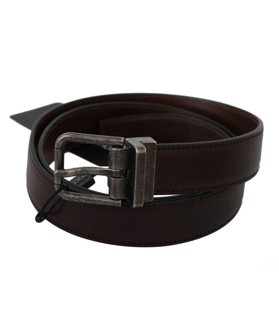 Image for Dolce & Gabbana Brown Calfskin Leather Metal Buckle Belt