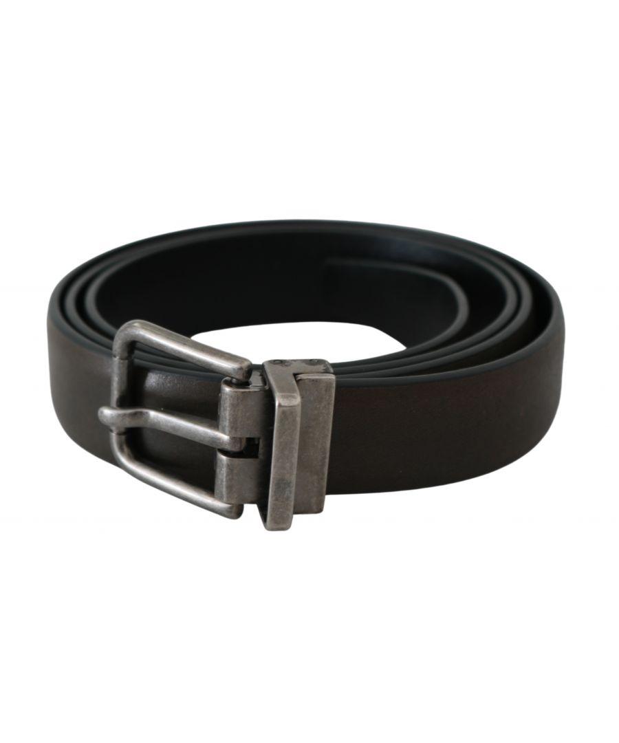 Image for Dolce & Gabbana Brown Silver Buckle Waist Men Leather Belt