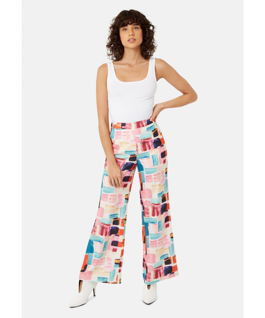 Image for Brush Strokes Straight Leg Trousers in Multicoloured