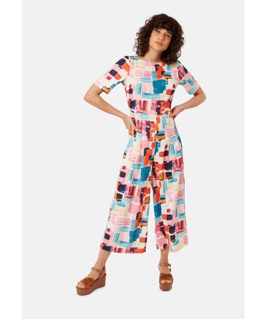 Image for Bianca Block Print Shortsleeve Jumpsuit in Multicoloured