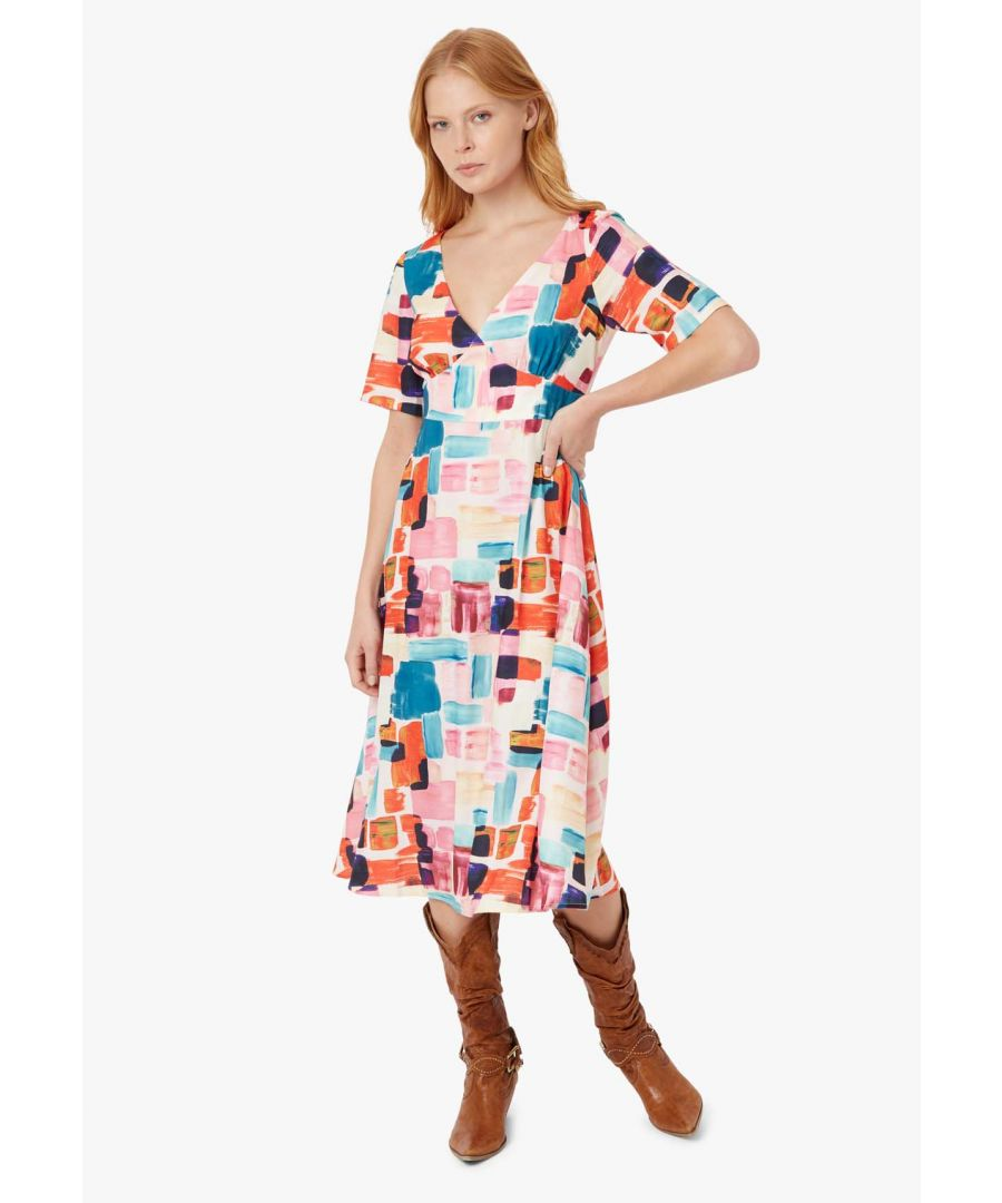 Image for Preen Printed V-neck Midi Dress in Multicoloured