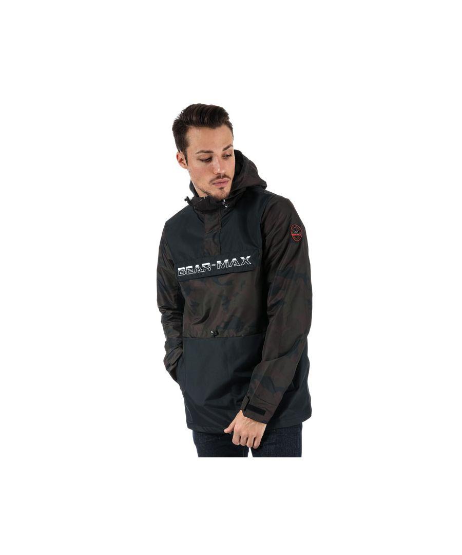 Image for Men's Bear Max Kodiack Half Zip Windbreaker in Black