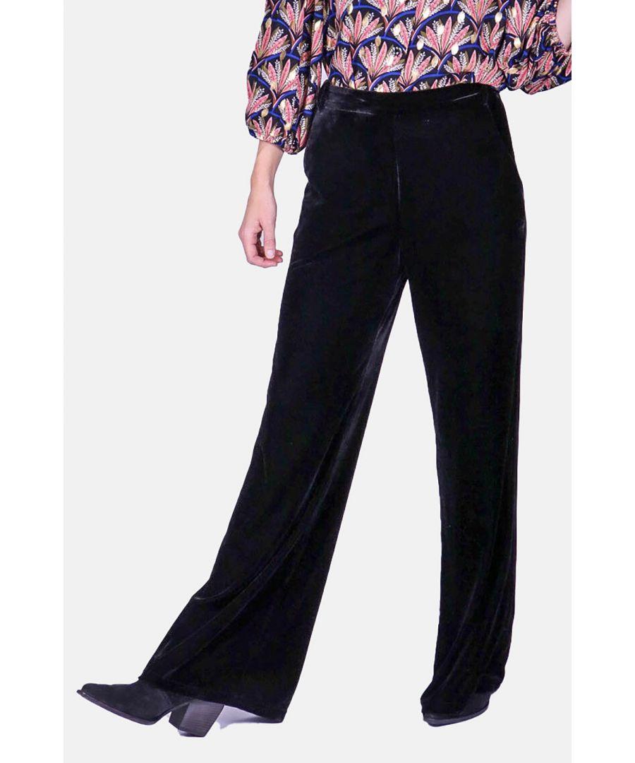 Image for Straight Leg Velvet Trousers in Black