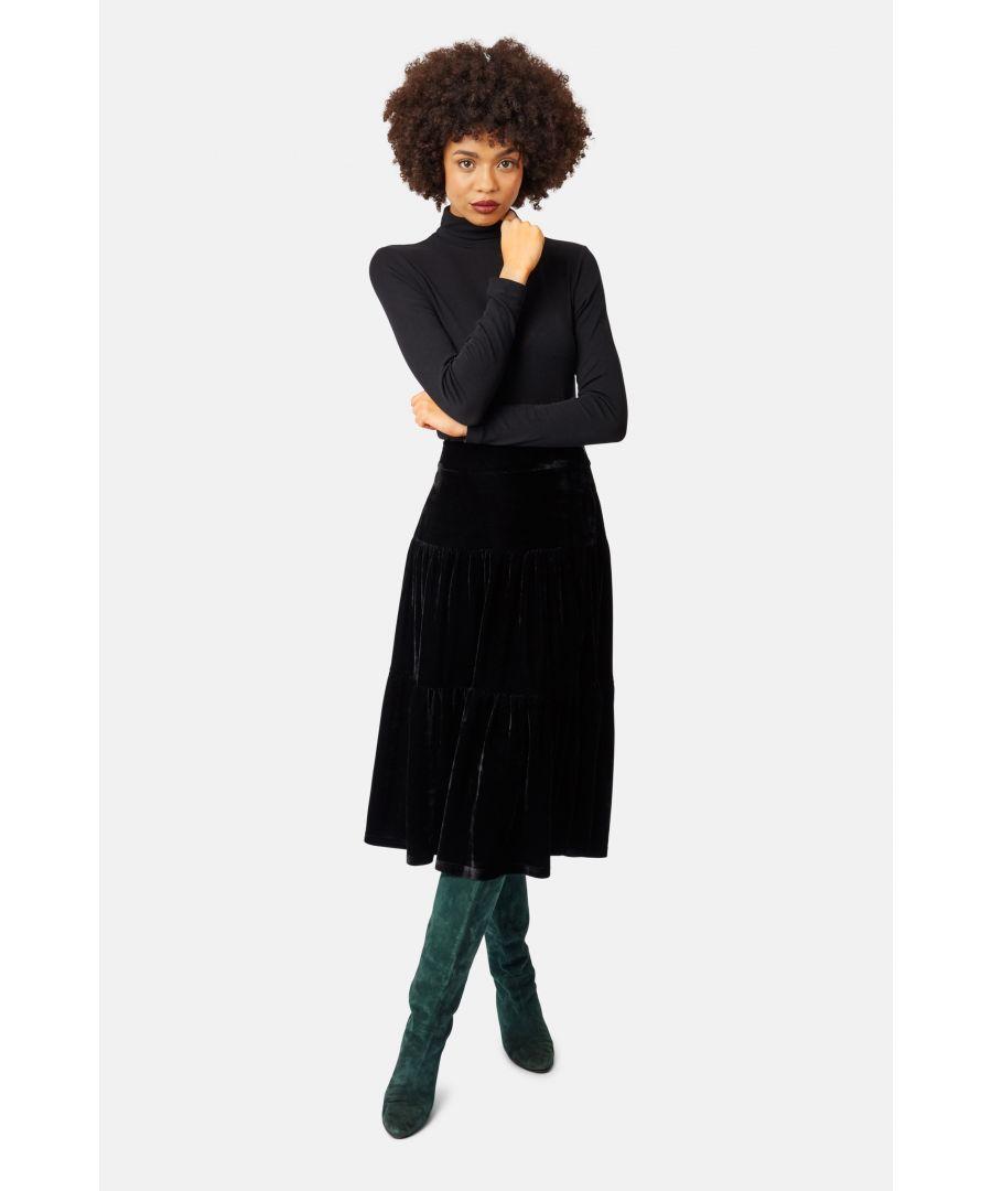 Image for If You Please Velvet A-line Midi Skirt in Black