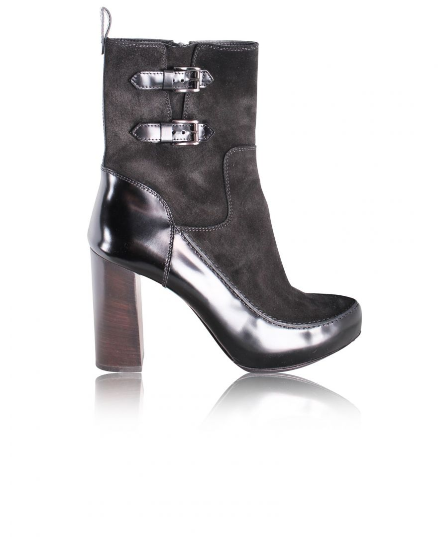 Image for Tods Black Suede Boots With Straps