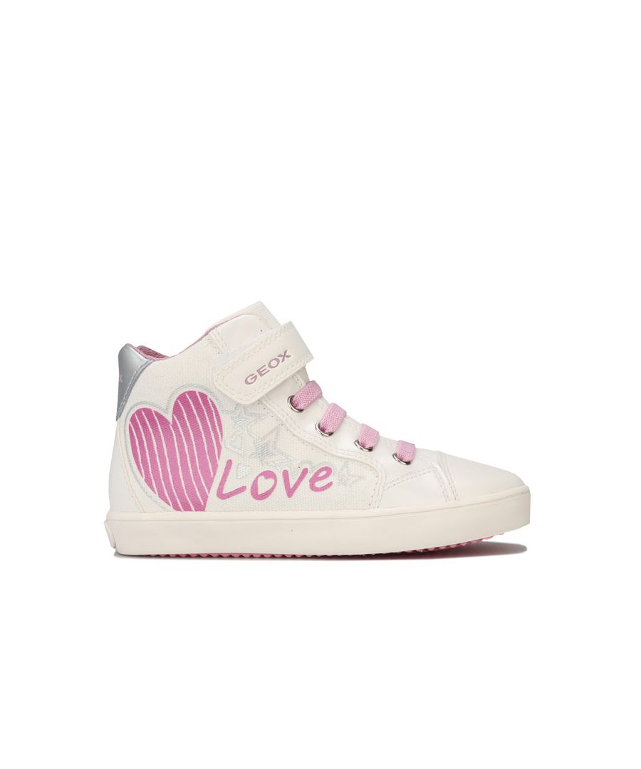 Image for Girl's Geox Junior Gisli High Trainers in White pink