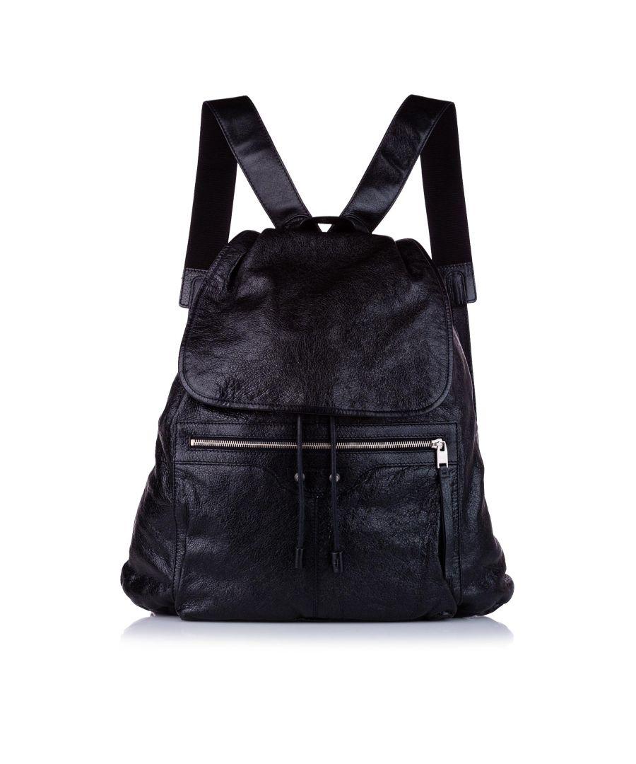 Image for Vintage Balenciaga Motocross Classic Traveler S Leather Backpack Black