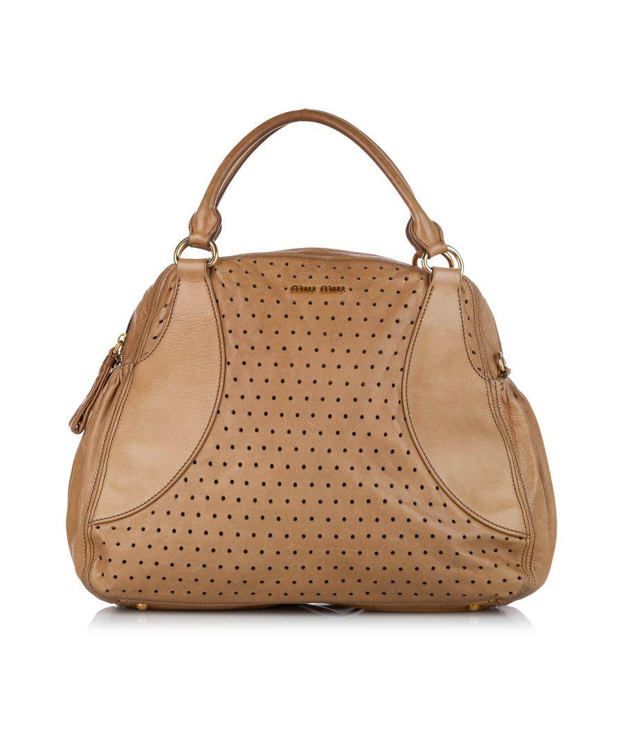 Image for Vintage Miu Miu Perforated Leather Satchel Brown
