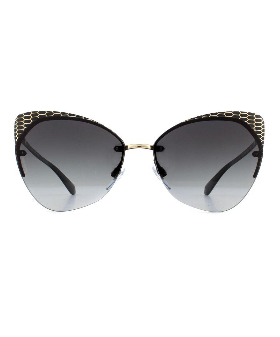 Image for Bvlgari Sunglasses BV6096 20288G Matte Black and Gold Grey Gradient