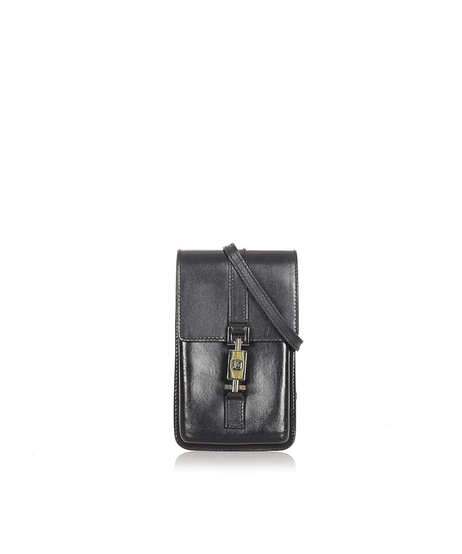 Image for Vintage Gucci Leather Crossbody Bag Black
