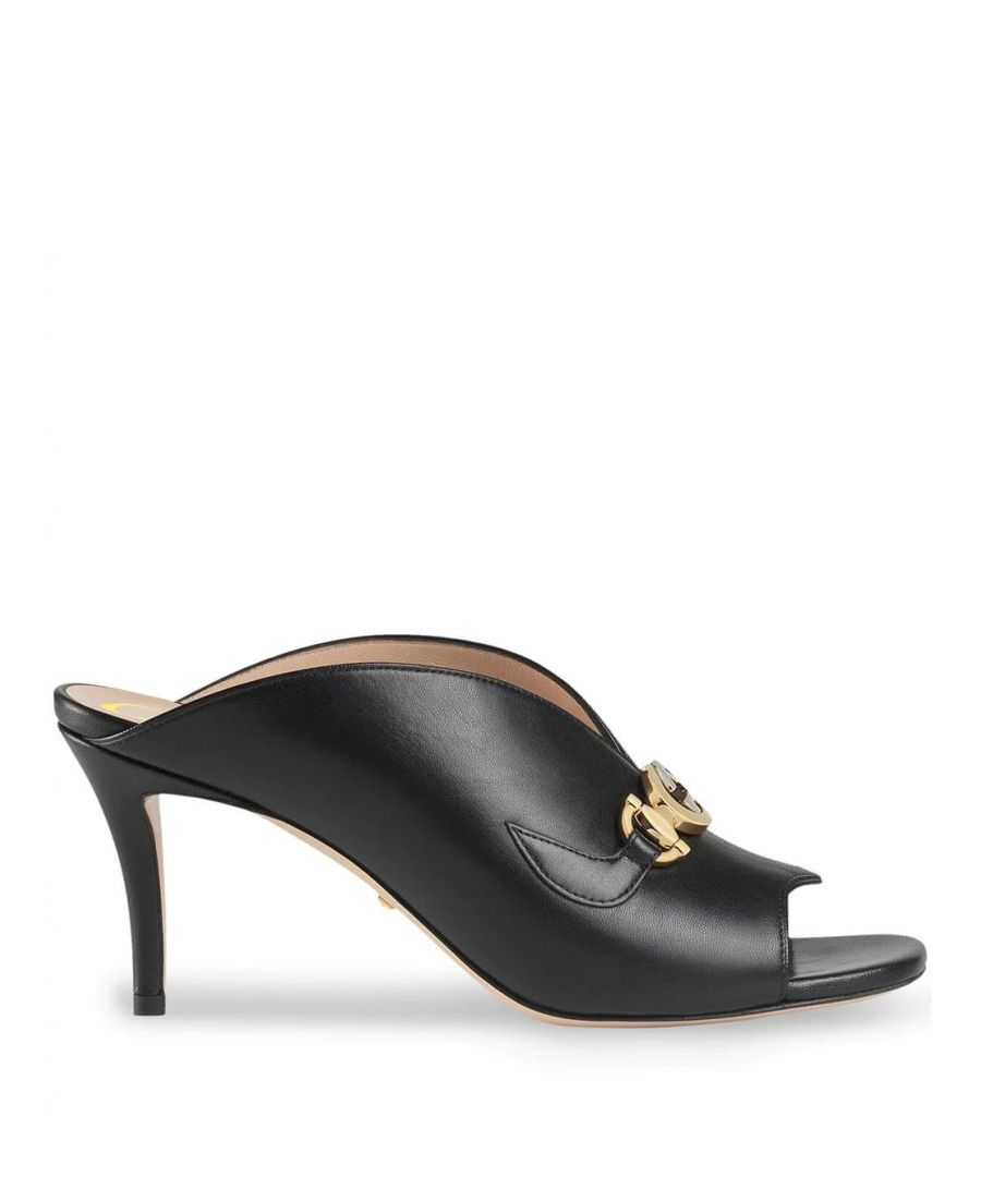 Image for GUCCI WOMEN'S 602412C9D001000 BLACK LEATHER HEELS