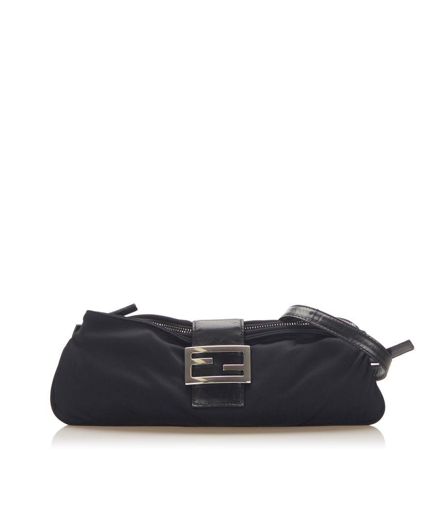 Image for Vintage Fendi Canvas Shoulder Bag Black