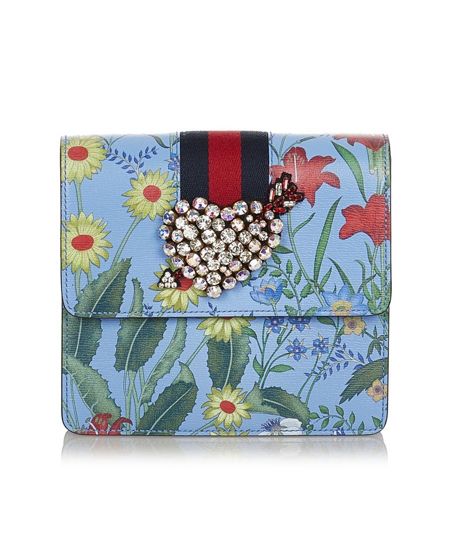 Image for Vintage Gucci Flora Web Heart Totem Leather Clutch Bag Blue