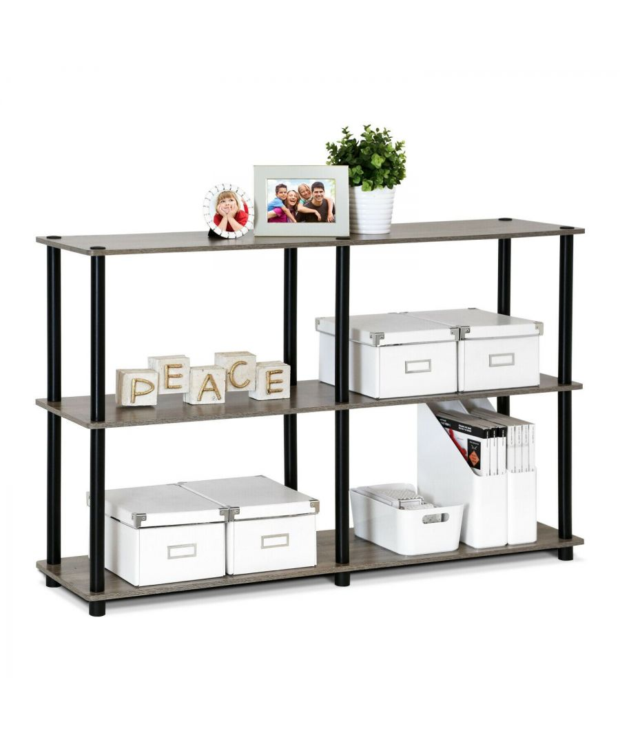 Image for Furinno Turn-N-Tube 3-Tier Double Size Storage Display Rack - French Oak Grey/Black