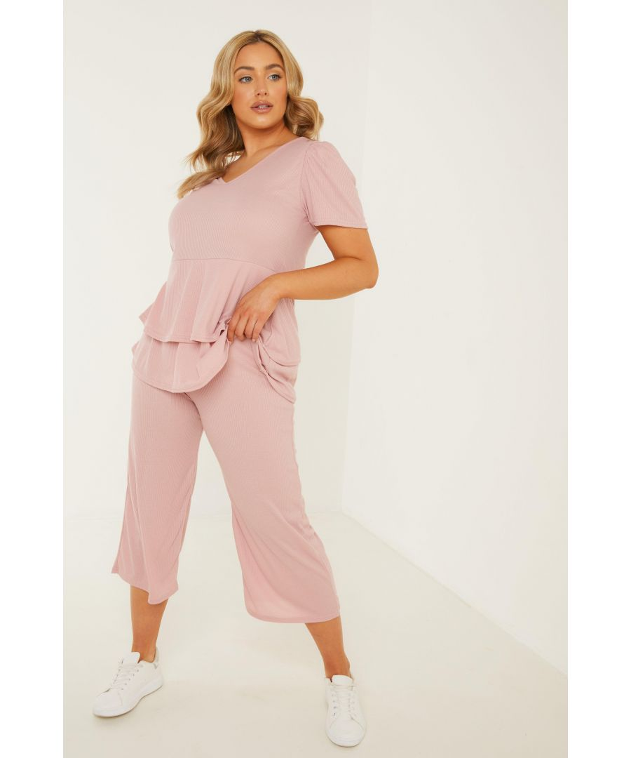Image for Curve Pink Ribbed Culotte Trousers