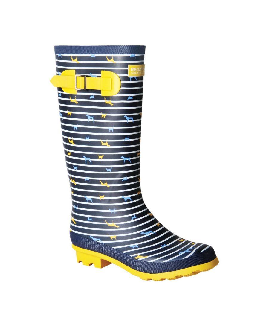 Image for Regatta Womens/Ladies Ly Fairweather II Tall Durable Wellington Boots (Navy/Yellow Stripe)