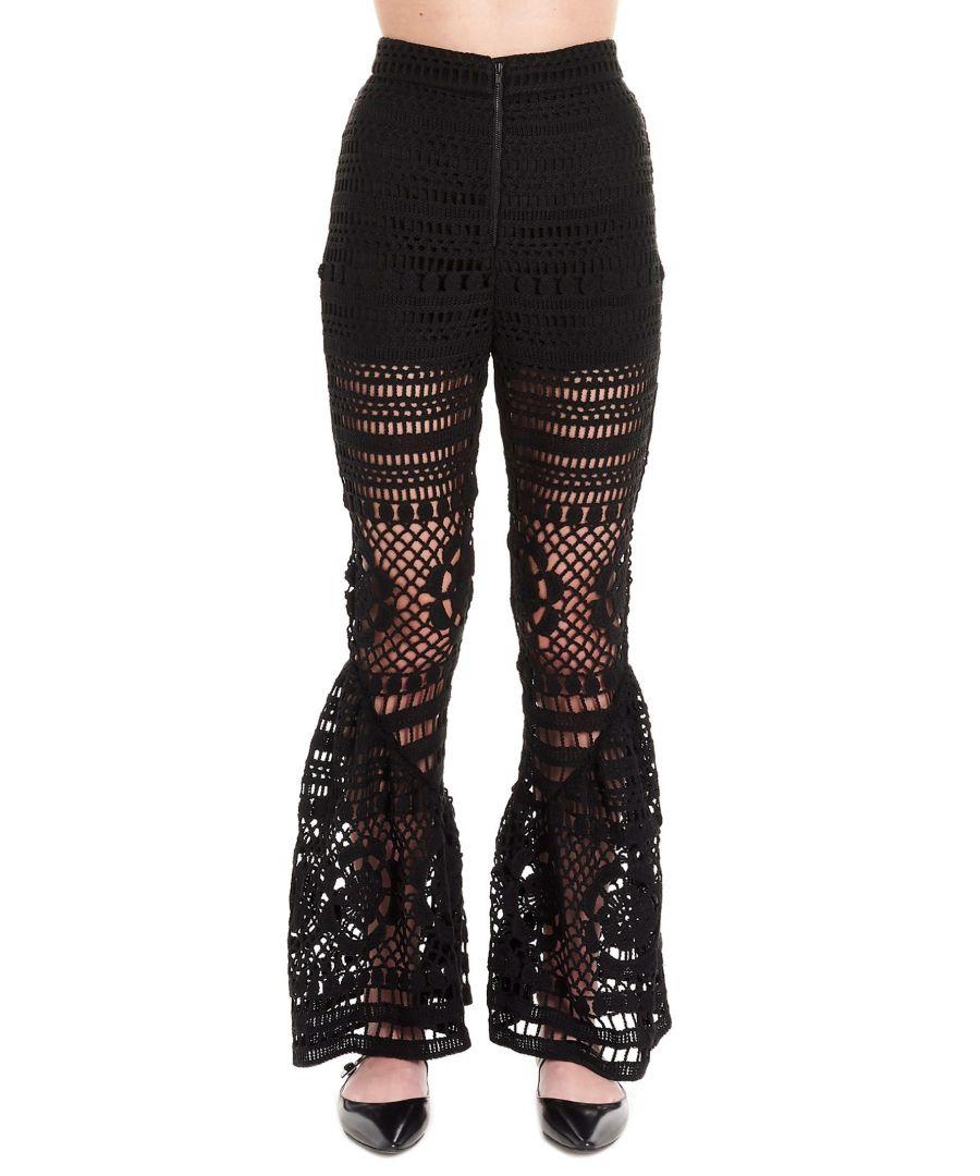 Image for SELF-PORTRAIT WOMEN'S SP22049BLACK BLACK COTTON PANTS