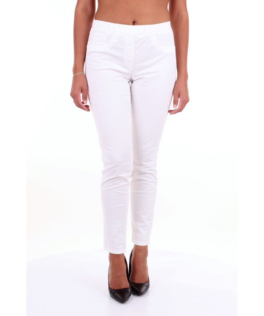 Image for LES COPAINS WOMEN'S 0J3120CREAM WHITE COTTON PANTS