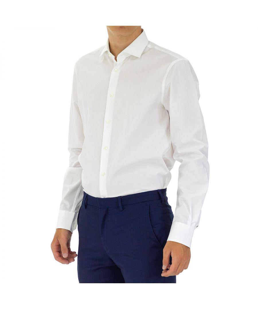 Image for Tommy Hilfiger Men's Shirt Poplin Slim Fit Full Sleeve White