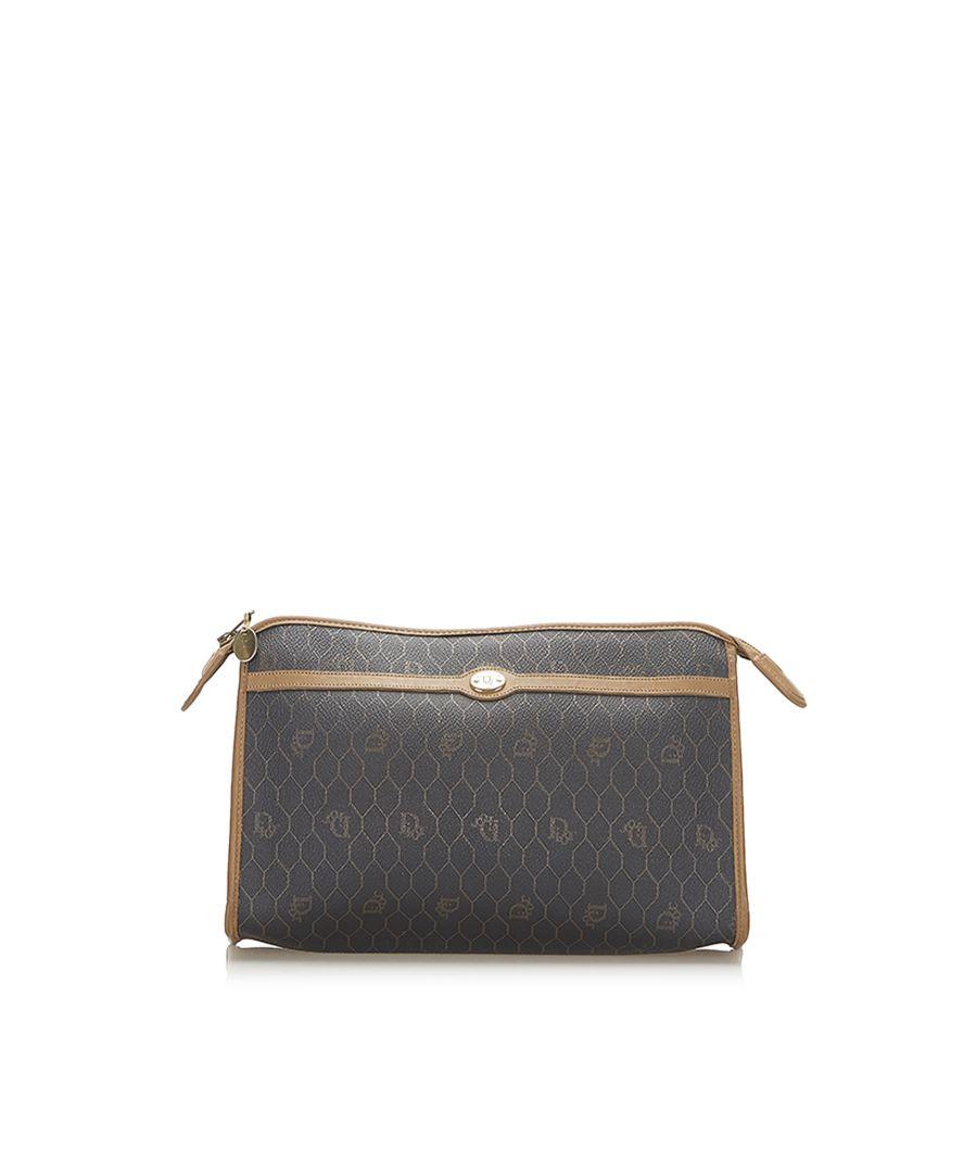 Image for Vintage Dior Honeycomb PVC Clutch Bag Black