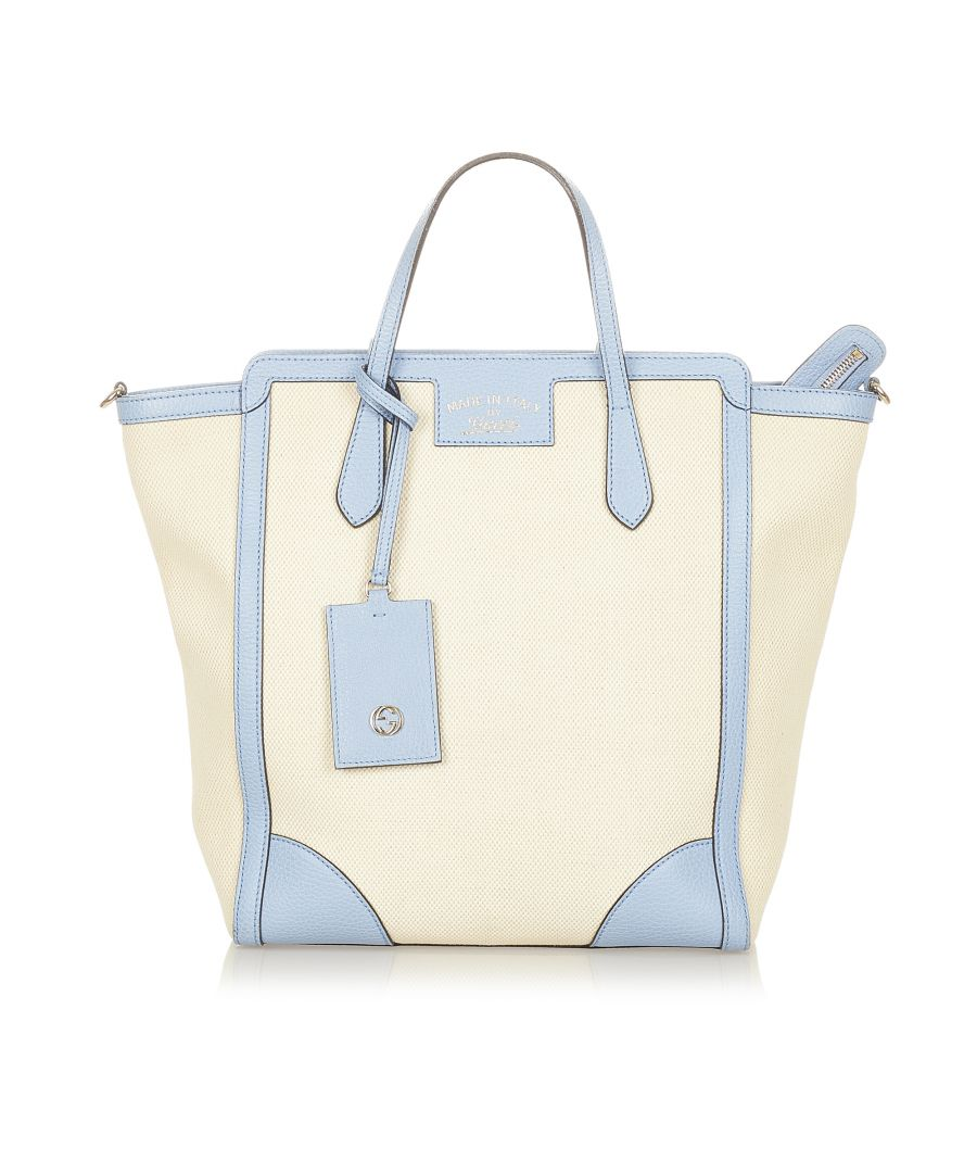 Image for Vintage Gucci Swing Canvas Satchel White