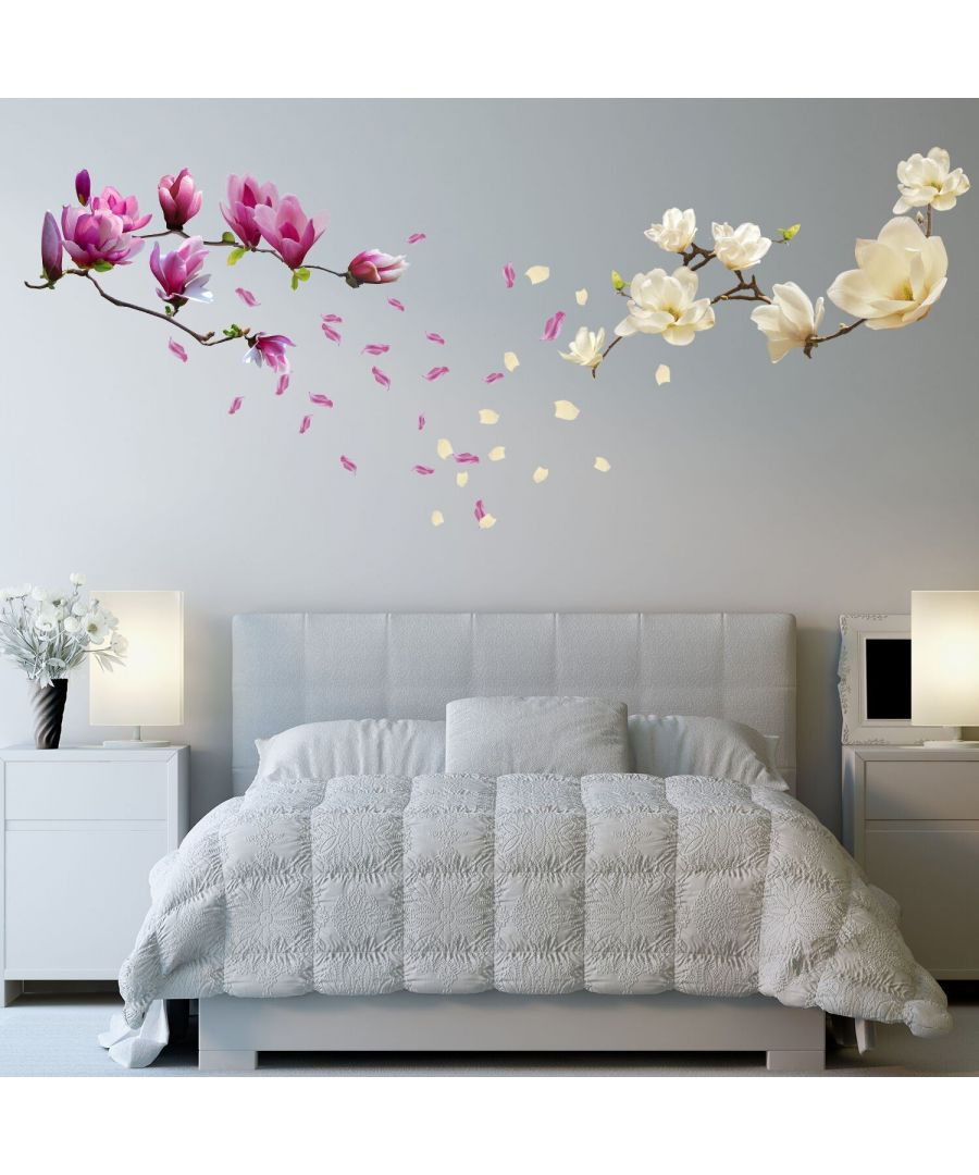 Image for Walplus Small White and Pink Magnolia Flowers wWall Stickers, Kitchen, Bathroom, Living room, Self-adhesive, Decal, Flowers