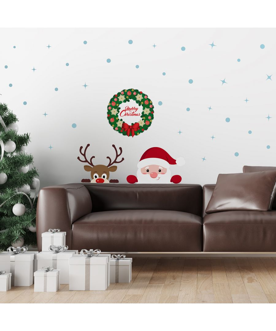 Image for C2W0072 - Peeking Santa & Rudolph with Christmas Garland - WS3329 + WS2307