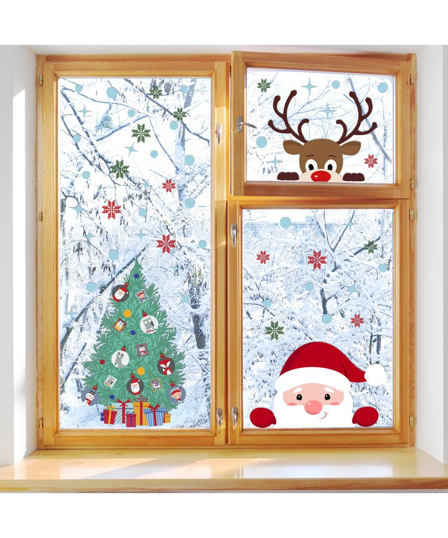 Image for C2W0073 - Peeking Santa & Rudolph with Christmas Tree - WS3329 + WS2308
